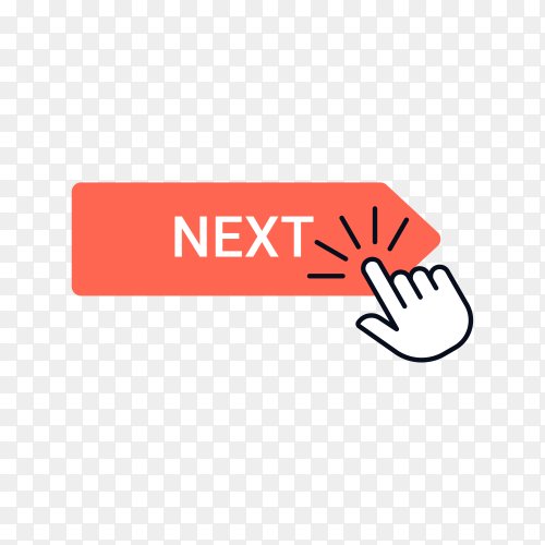 Next button with hand mouse on transparent background PNG