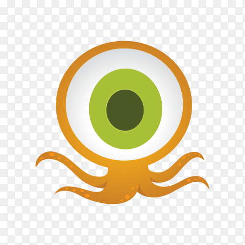 Octopus logo template on transparent background PNG