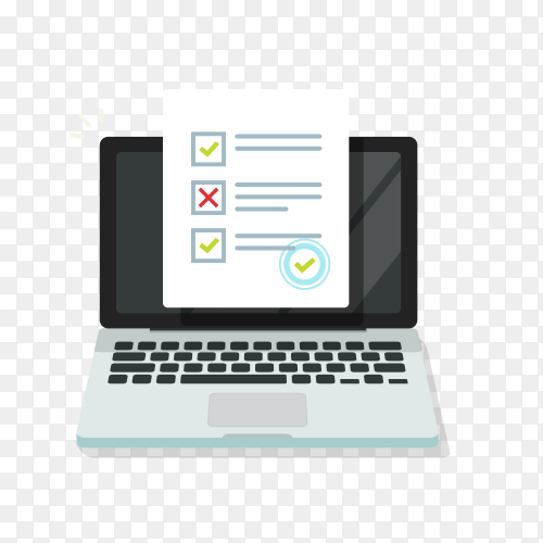 Online form survey on laptop computer or internet quiz exam isolated on transparent background PNG