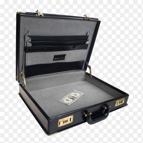 Open leather suitcase on transparent background PNG