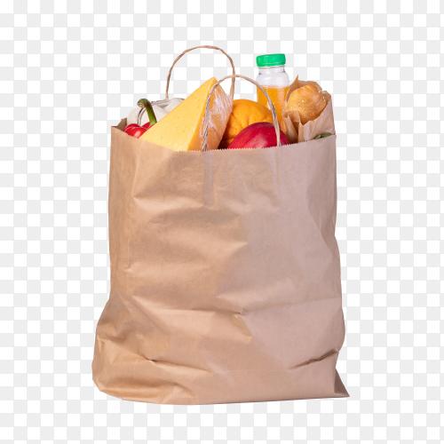 Paper bag with market food on transparent background PNG