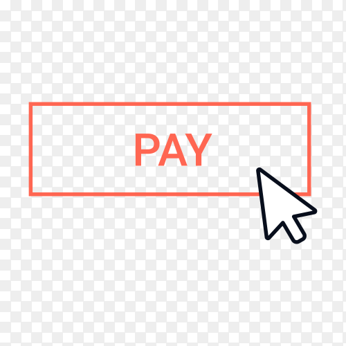 Pay button with hand pointer clicking on transparent background PNG