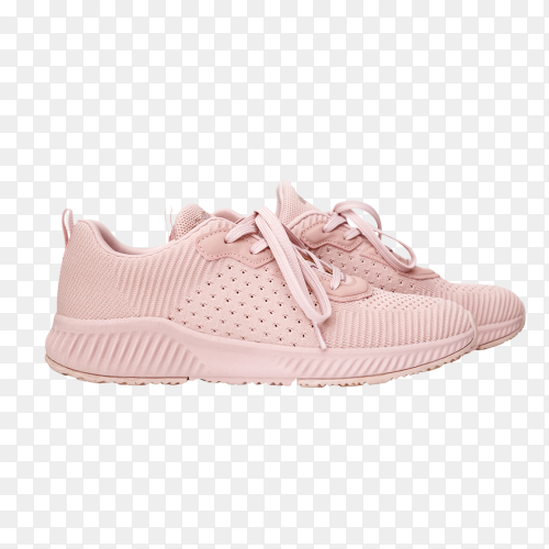 Pink female sneakers isolated on transparent background PNG