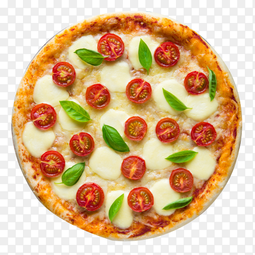 Pizza Margarita on transparent background PNG