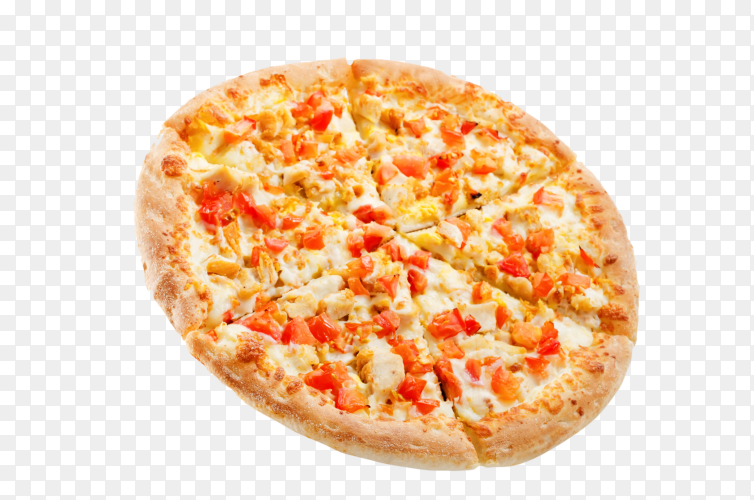 Pizza with cheese chicken and fresh tomato slices on transparent background PNG