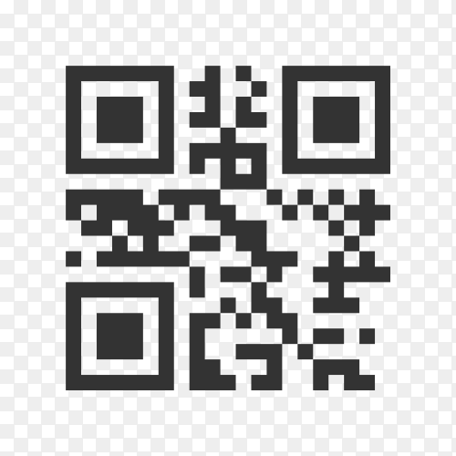 QR code sample for smartphone scanning isolated on transparent background PNG