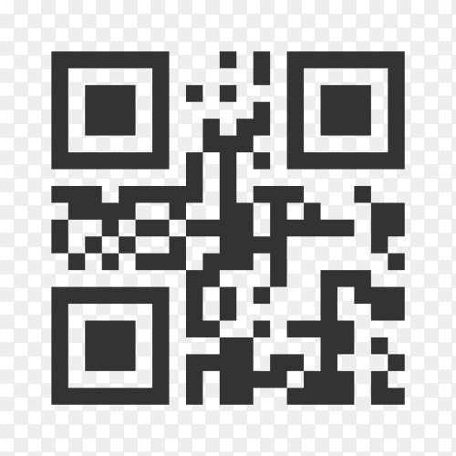 Qr code template to scan by smart phone in flat design on transparent background PNG