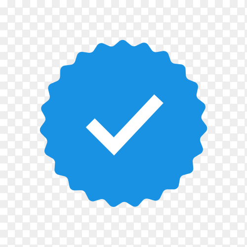 Quality icons. blue flat star shape stickers. profile verification sign. badges of warranty, approval, accept and quality. flat check mark on transparent background PNG