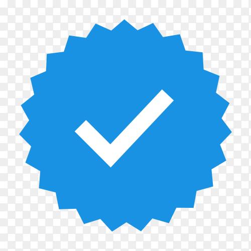 Quality icons. blue flat star shape stickers. profile verification sign. badges of warranty, approval, accept and quality. flat check mark on transparent PNG