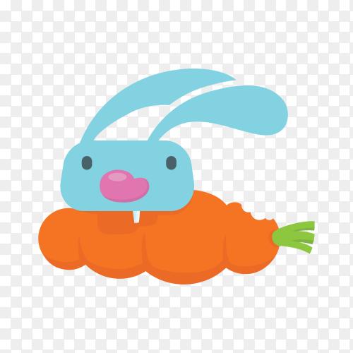 Rabbit logo design symbol on transparent background PNG