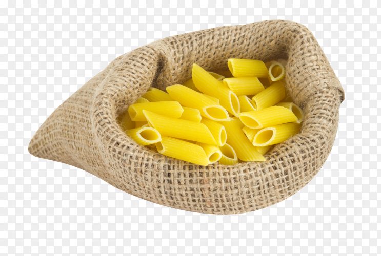 Raw Organic Dry Penne Pasta on transparent background PNG