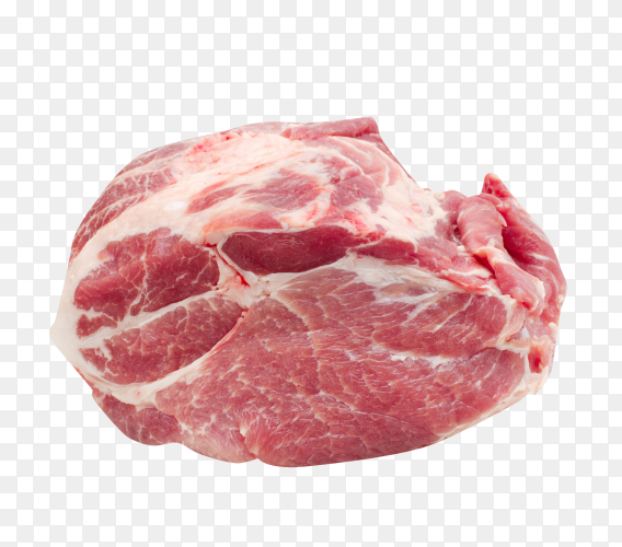 Raw pork meat on transparent background PNG