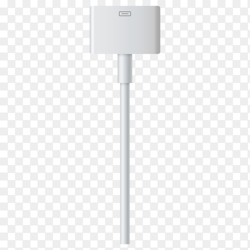 Realistic USB cable for smartphone charger on transparent background PNG