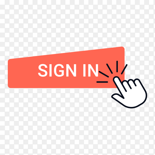 Red Sign In button with hand mouse on transparent background PNG