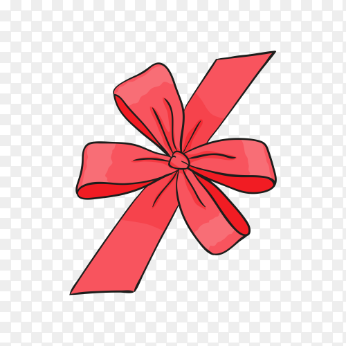 Red bow and ribbon in flat design on transparent background PNG.png
