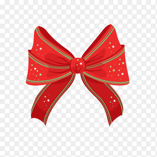 Red christmas bow with shiny stars premium vector PNG.png