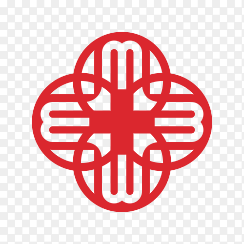Red dental and health logo symbol on transparent background PNG