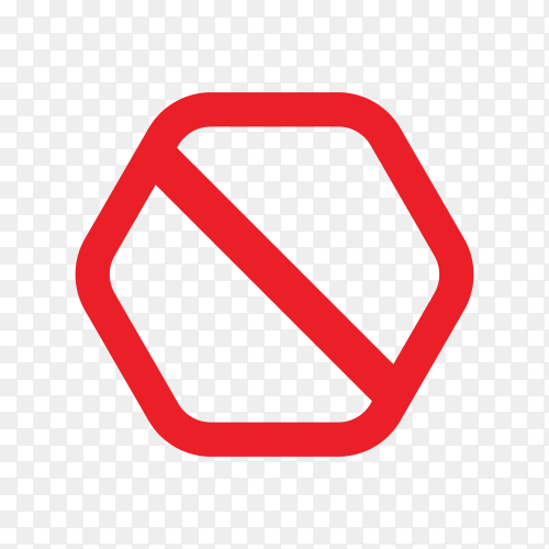 Red prohibited sign on transparent background PNG