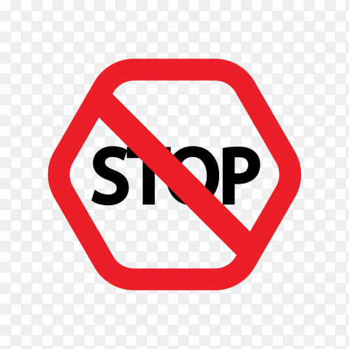 Red stop sign on transparent background PNG