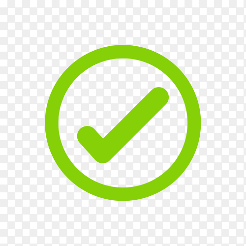 Right, Correct, check-in Green Icon Sign on transparent background PNG