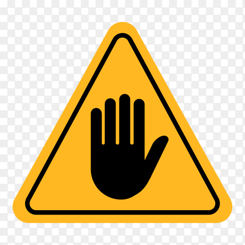 STOP! No entry. Hand sign . Attention triangular stop icon. Hand symbol for prohibited activities on transparent background PNG