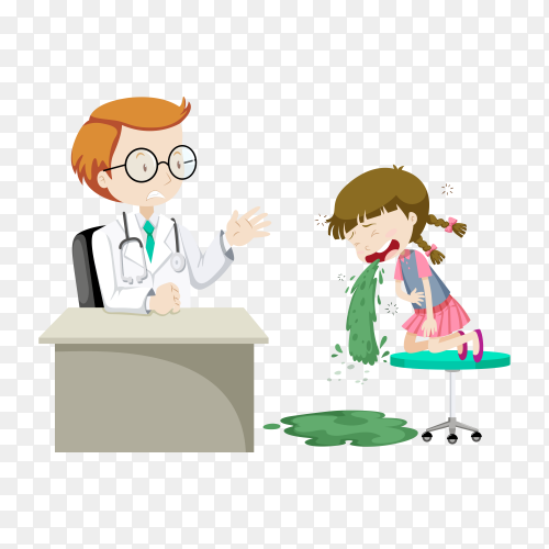 Sick girl visiting doctor at clinic illustration on transparent background PNG