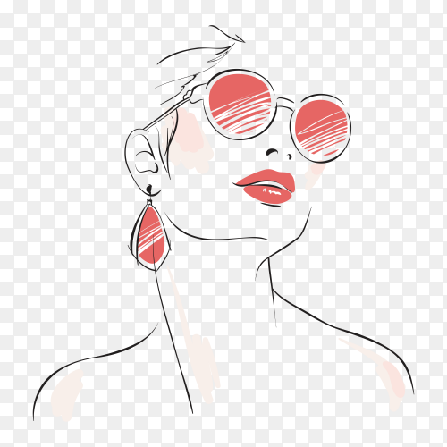 Sketch fashion woman on transparent background PNG