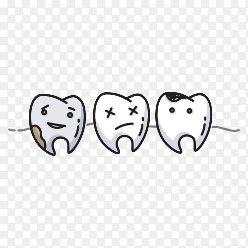 Small comic teeth character scenes on transparent background PNG