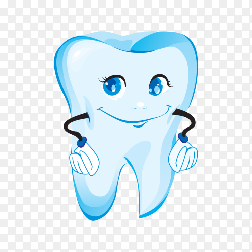 Smiling cartoon tooth. Healthy tooth with smiling face. Cartoon emoticon face with a smiling expressio on transparent background PNG.png