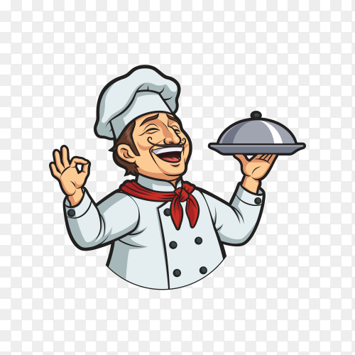 Smiling chef cartoon character on transparent background PNG
