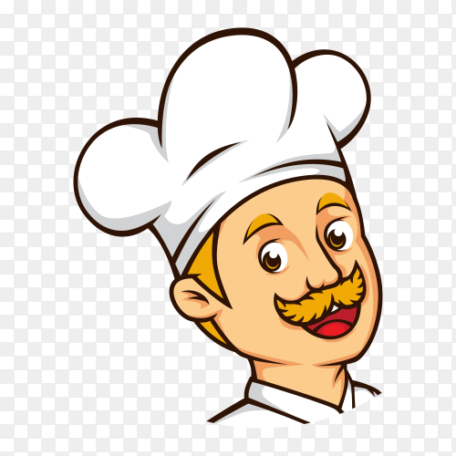 Smiling chef man on transparent background PNG