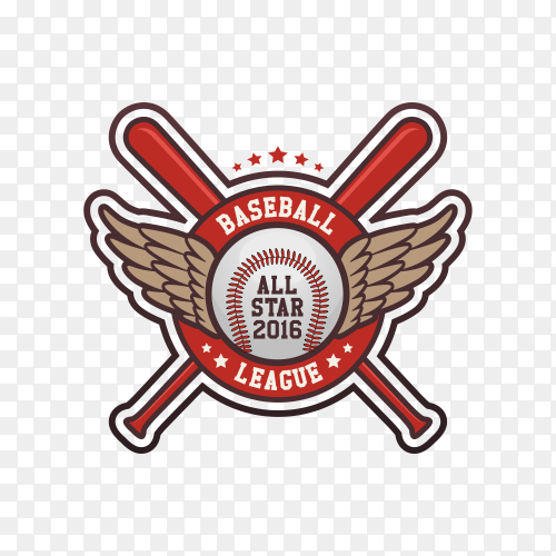 Sport Baseball Club Badge Logo on transparent background PNG