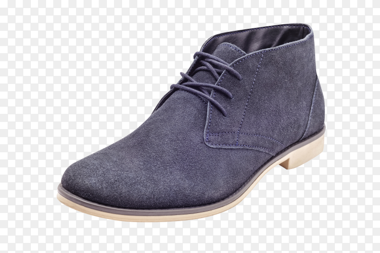 Suede men's shoes Blue Isolated on transparent background PNG
