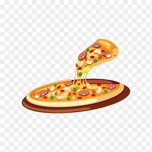 Tasty pizza isolated on transparent background PNG