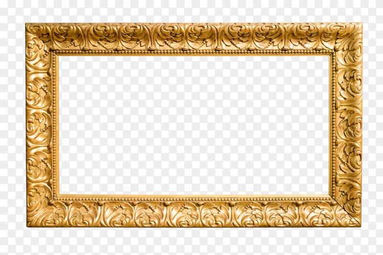 The antique gold frame on transparent background PNG