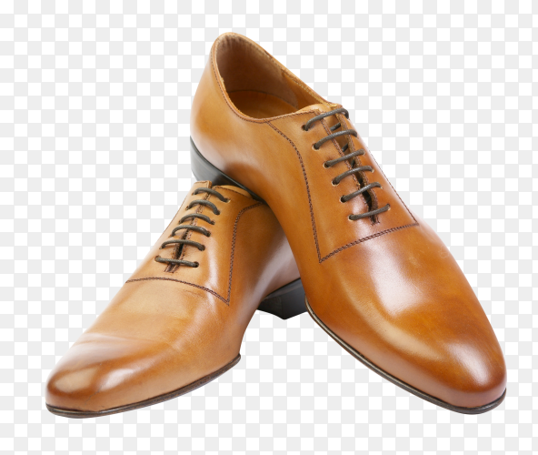The man's brown shoes isolated on transparent background PNG