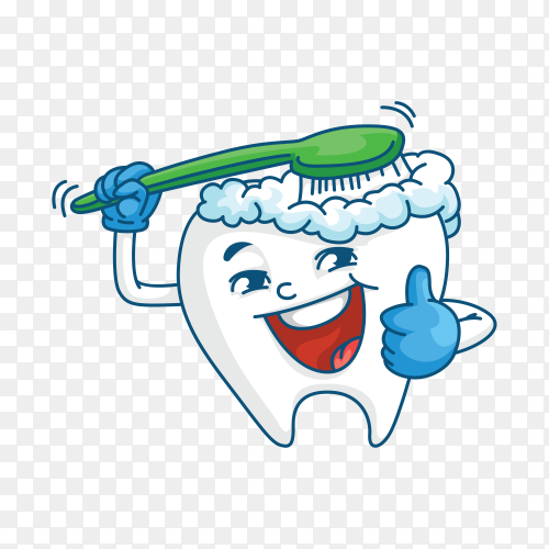 Tooth cartoon mascot brushing teeth on transparent PNG.png