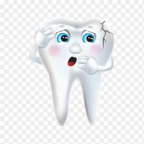 Tooth decay with sad face on transparent PNG.png
