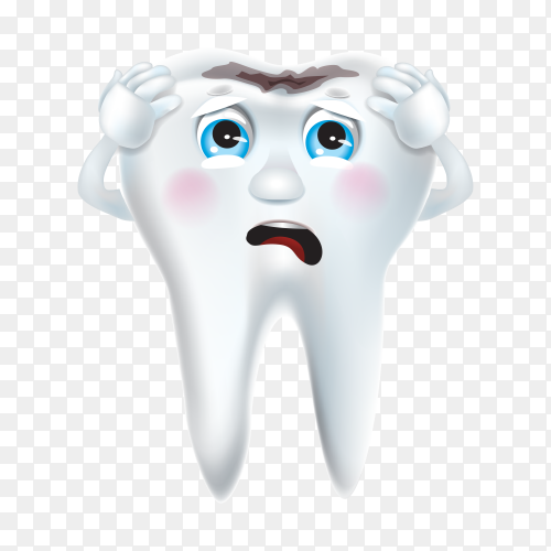 Tooth decay with sad face on transparent background PNG.pn