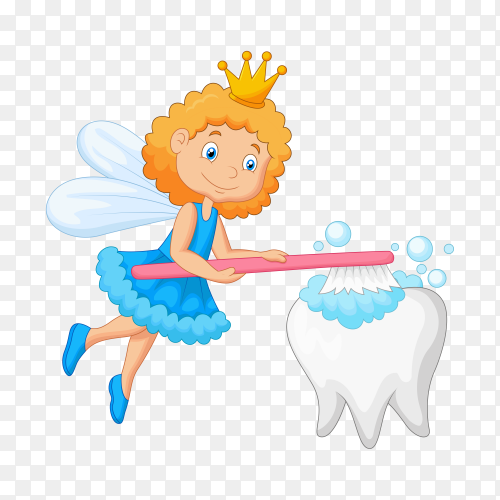 Tooth fairy brushing tooth on transparent background PNG