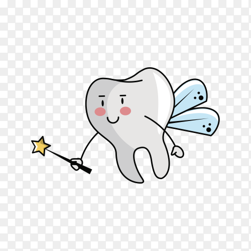 Tooth fairy cartoon on transparent background PNG