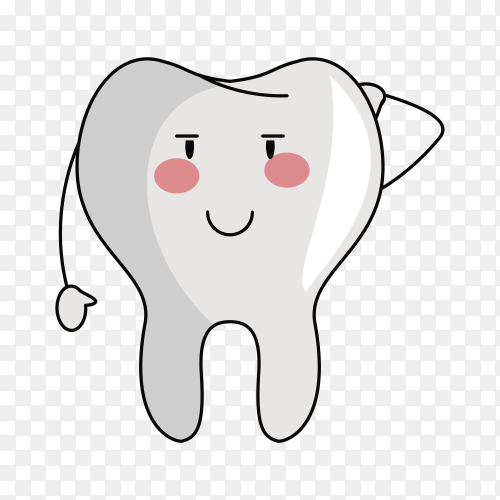 Tooth funny cartoon on transparent background PNG