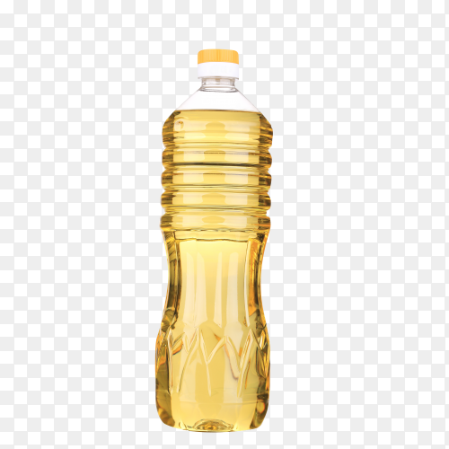 Vegetable or sunflower oil in plastic bottle isolated on transparent background PNG