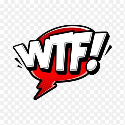 WTF text on speech bubble with abstract shape on transparent background PNG