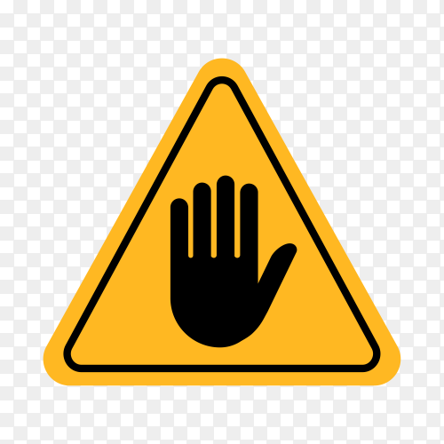 Warning attention sign with hand stop mark symbol on transparent background PNG
