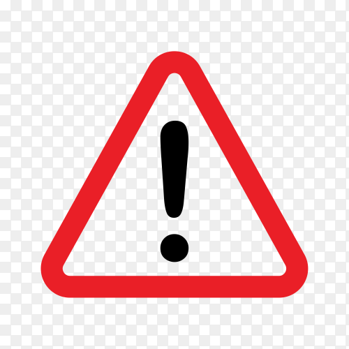 Warning icon. The attention icon. Danger symbol on transparent background PNG