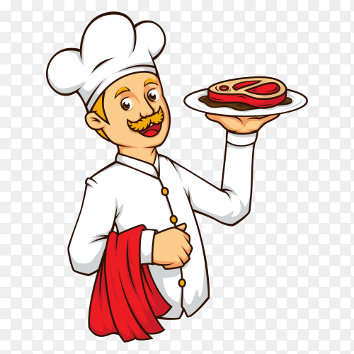 Western chef with steak on transparent background PNG