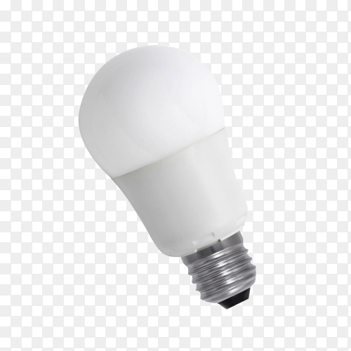 White opaque round energy saving light bulb isolated on transparent background PNG