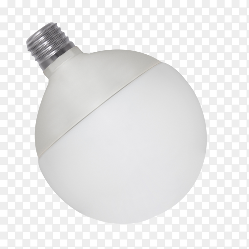 White opaque round energy saving light bulb on transparent background PNG