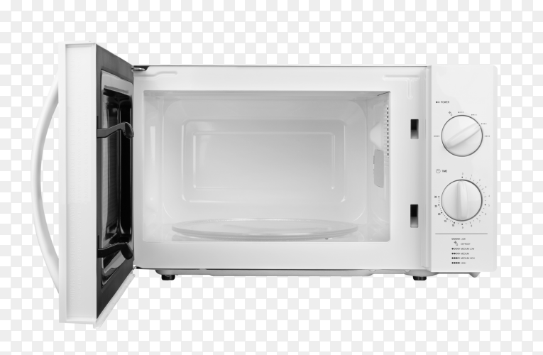 White open microwave oven isolated on transparent background PNG